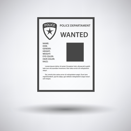 wanted poster: Wanted poster icon on gray background with round shadow. Vector illustration.