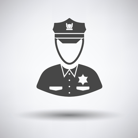 Policeman icon on gray background with round shadow. Vector illustration.