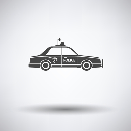 Police car icon on gray background with round shadow. Vector illustration. Illustration