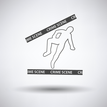 background csi: Crime scene icon on gray background with round shadow. Vector illustration. Illustration