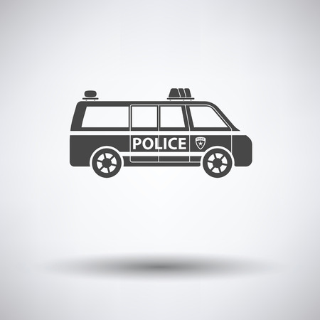highway patrol: Police van icon on gray background with round shadow. Vector illustration.
