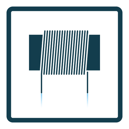 inductor: Inductor coil icon. Shadow reflection design. Vector illustration.