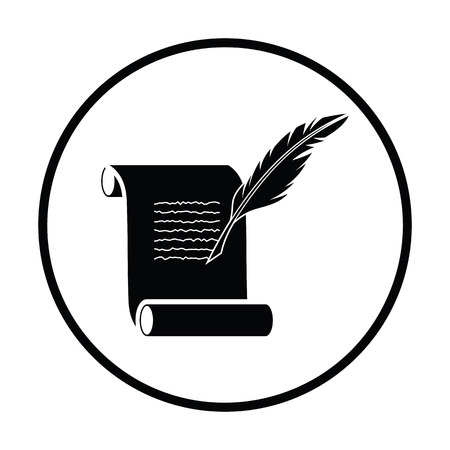 Feather and scroll icon. Thin circle design. Vector illustration.