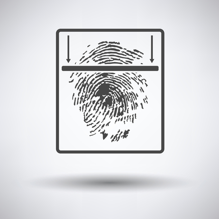 thumb print: Fingerprint scan icon on gray background with round shadow. Vector illustration.