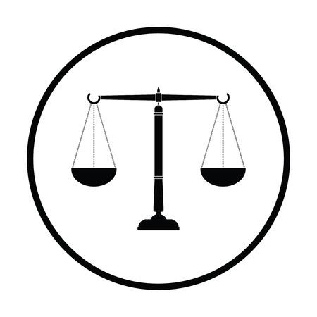Justice scale icon. Thin circle design. Vector illustration. Vettoriali