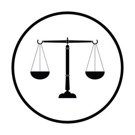 Justice scale icon. Thin circle design. Vector illustration. Illustration