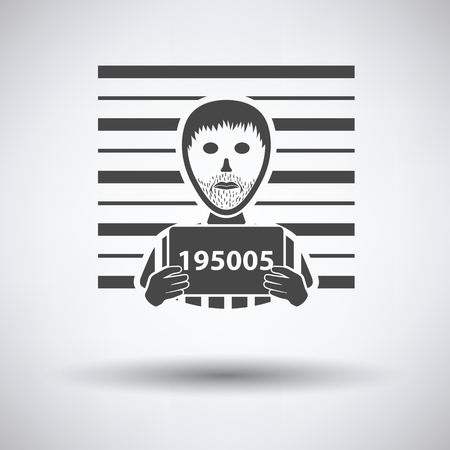 mug shot: Prisoner in front of wall with scale icon on gray background with round shadow. Vector illustration. Illustration