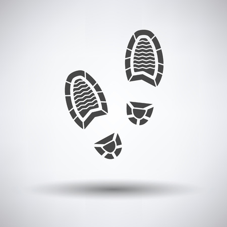 Man footprint icon on gray background with round shadow. Vector illustration.