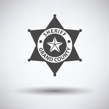 federal states: Sheriff badge icon on gray background with round shadow. Vector illustration.