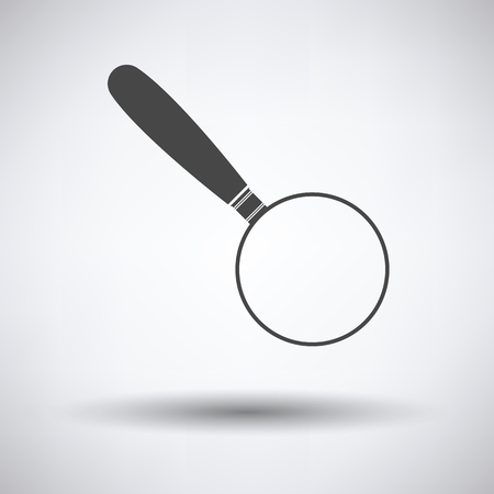 inquire: Magnifying glass icon on gray background with round shadow. Vector illustration.
