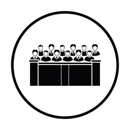 jurado: icono jurado. diseño del círculo delgada. Ilustración del vector.