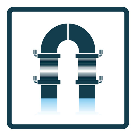 copper magnet: Electric magnet icon. Shadow reflection design. Vector illustration. Illustration