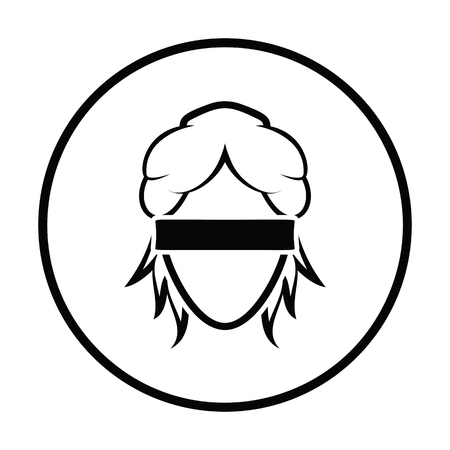 female judge: Femida head icon. Thin circle design. Vector illustration.