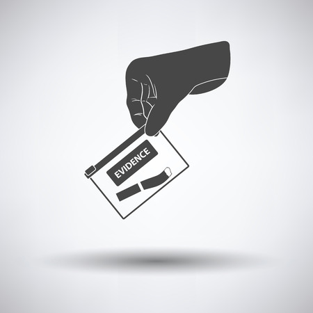 theft proof: Hand holding evidence pocket icon on gray background with round shadow. Vector illustration.