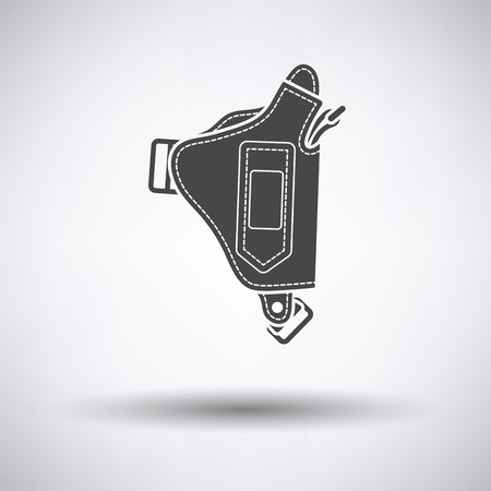 holster: Police holster gun icon on gray background with round shadow. Vector illustration. Illustration