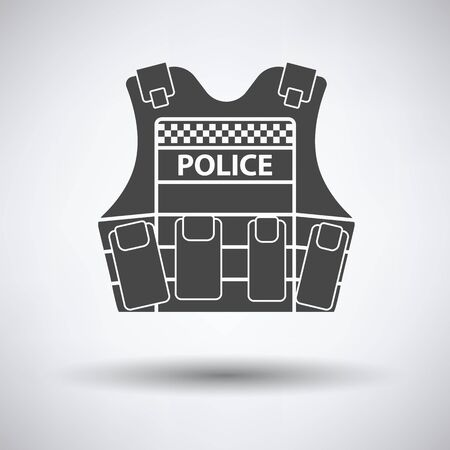 bulletproof vest: Police vest icon on gray background with round shadow. Vector illustration.