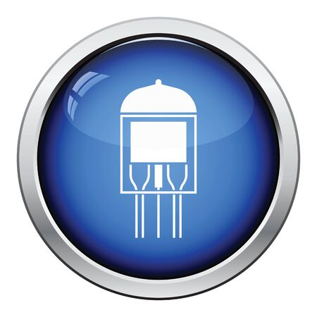 triode: Electronic vacuum tube icon. Glossy button design. Vector illustration. Illustration
