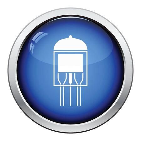 power supply unit: Electronic vacuum tube icon. Glossy button design. Vector illustration. Illustration