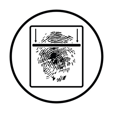 thumb print: Fingerprint scan icon. Thin circle design. Vector illustration.