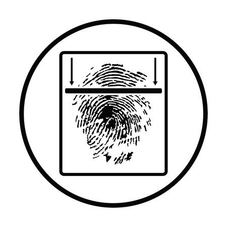 odcisk kciuka: Fingerprint scan icon. Thin circle design. Vector illustration.