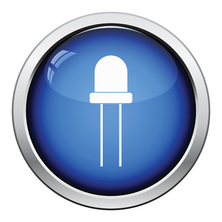 semiconductors: Light-emitting diode icon. Glossy button design. Vector illustration.