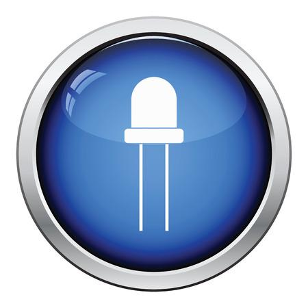 solder: Light-emitting diode icon. Glossy button design. Vector illustration.