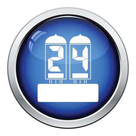 readout: Electric numeral lamp icon. Glossy button design. Vector illustration. Illustration