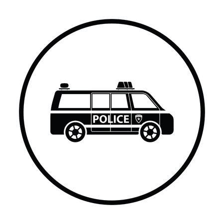 highway patrol: Police van icon. Thin circle design. Vector illustration.