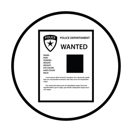 wanted poster: Wanted poster icon. Thin circle design. Vector illustration.