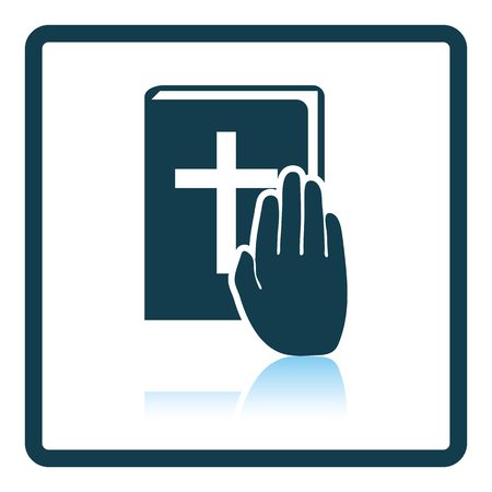 oath: Hand on Bible icon. Shadow reflection design. Vector illustration. Illustration