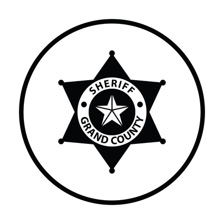 officers: Sheriff badge icon. Thin circle design. Vector illustration.