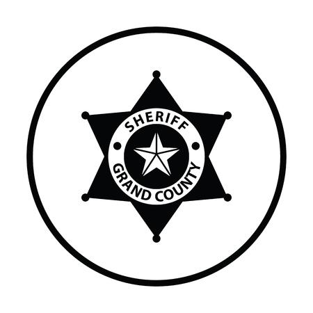 Sheriff badge icoon. Dunne cirkel design. Vector illustratie. Stock Illustratie
