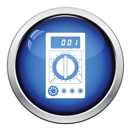 impedance: Multimeter icon. Glossy button design. Vector illustration.