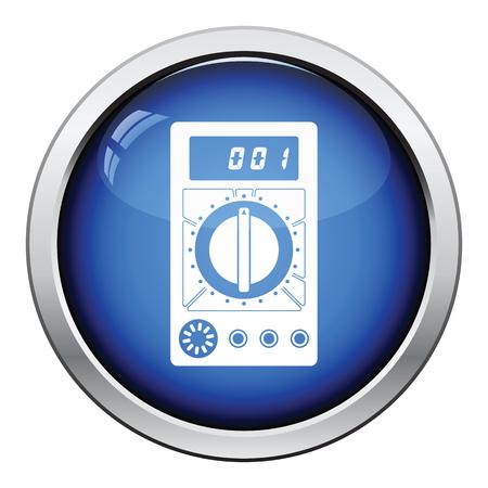 Multimeter icon. Glossy button design. Vector illustration.