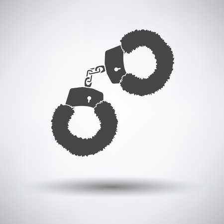 Sex handcuffs with fur icon on gray background with round shadow. Vector illustration.