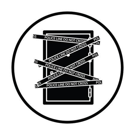 residential zone: Crime scene door icon. Thin circle design. Vector illustration.