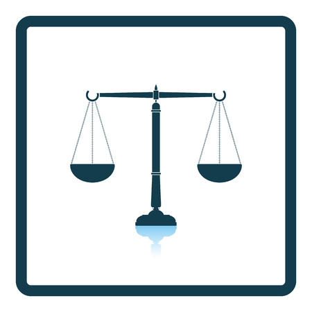 acquit: Justice scale icon. Shadow reflection design. Vector illustration. Illustration