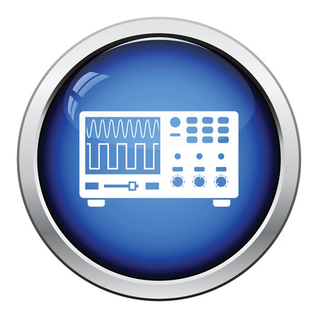solder: Oscilloscope icon. Glossy button design. Vector illustration. Illustration