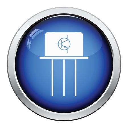 transistor: icono transistor. Diseño brillante del botón. Ilustración del vector.