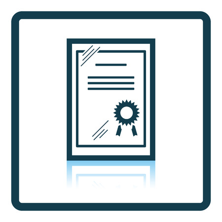 glass reflection: Certificate under glass icon. Shadow reflection design. Vector illustration.