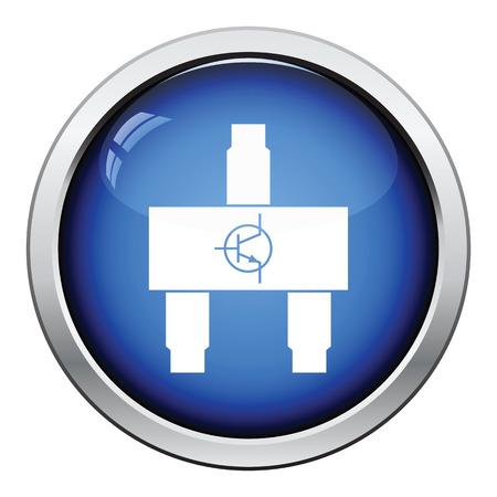 transistor: icono de transistor smd. Dise�o brillante del bot�n. Ilustraci�n del vector.