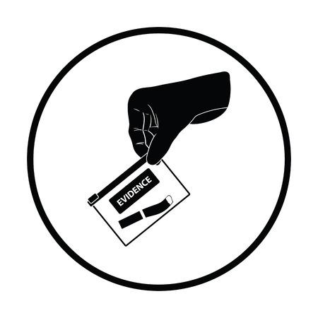 theft proof: Hand holding evidence pocket icon. Thin circle design. Vector illustration. Illustration