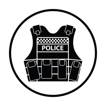 safety vest: Police vest icon. Thin circle design. Vector illustration.