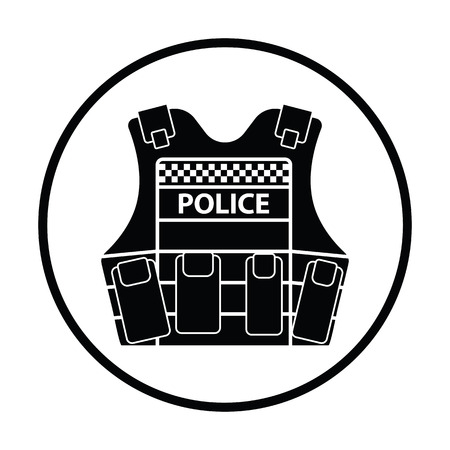 Police vest icon. Thin circle design. Vector illustration.
