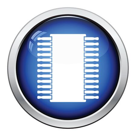 microelectronics: Chip icon. Glossy button design. Vector illustration.