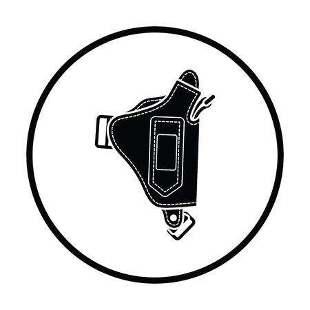 holster: Police holster gun icon. Thin circle design. Vector illustration.