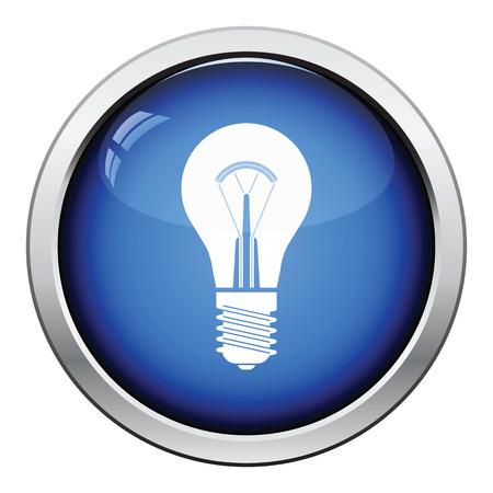 Glühbirne-Symbol. Glossy-Button-Design. Vektor-Illustration. Standard-Bild - 60984797