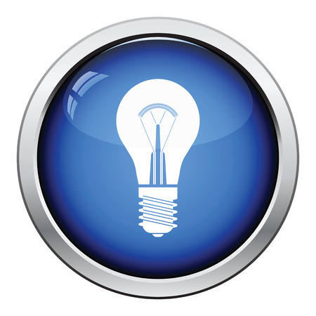 Electric bulb icon. Glossy button design. Vector illustration.