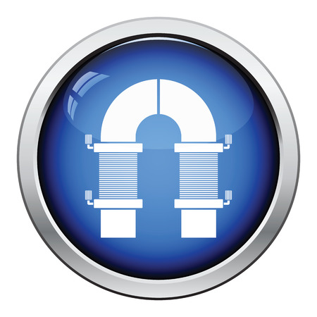 single coil: Electric magnet icon. Glossy button design. Vector illustration.