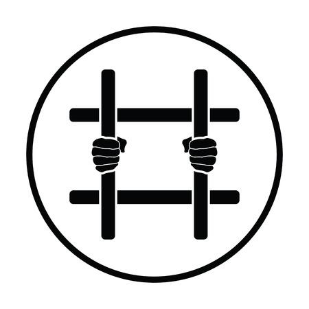 behind bars: Hands holding prison bars icon. Thin circle design. Vector illustration. Illustration